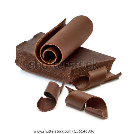 Chocolate block with curls on white background - stock photo