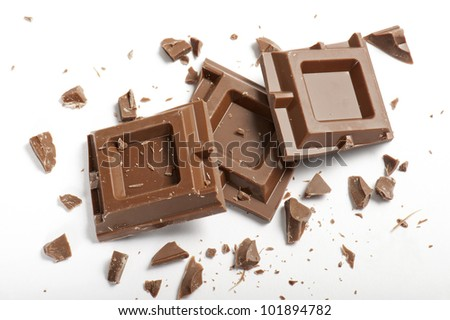 chocolate blocks with pieces, on white background - stock photo