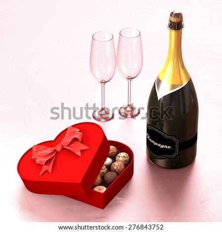 Chocolate box with a champagne and two glasses. This illustration symbolizes the meeting of two lovers - stock photo