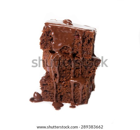 chocolate browni isolated on the white - stock photo