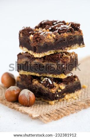Chocolate brownie cake with nuts - stock photo