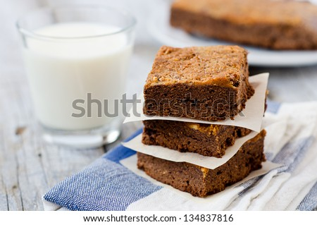 Chocolate brownies topped with peanut butter served with fresh cold milk - stock photo