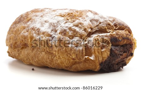 chocolate bun glazed on a white background