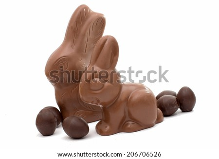 chocolate bunny with chocolate eggs isolated on white background - stock photo