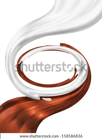 chocolate cacao and milk swirl together frame isolated - stock photo