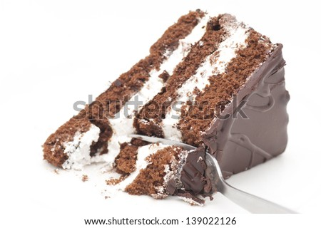 Chocolate cake being eaten