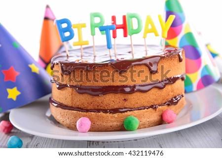chocolate cake birthday - stock photo