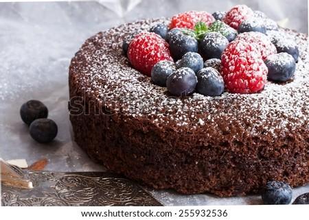 Chocolate cake close up selective focus - stock photo
