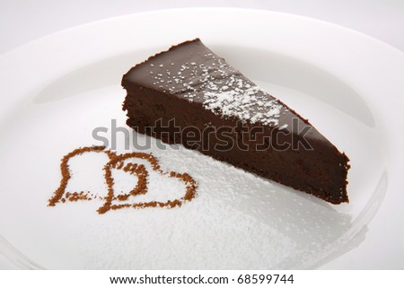 Chocolate cake for enamoured - stock photo