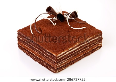 chocolate cake, isolated on a white background - stock photo