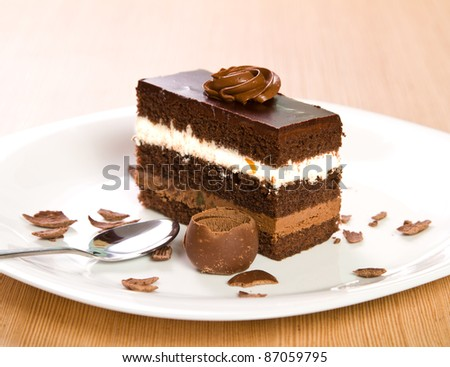 Chocolate cake on a plate & Chocolate Cake On Plate Stock Photo (Safe to Use) 87059795 ...