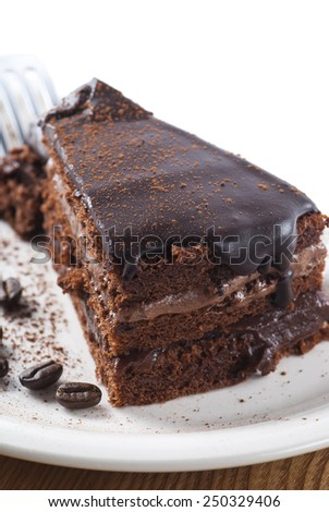 Chocolate cake on a plate. New version. - stock photo
