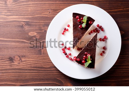 chocolate cake on a platetop view