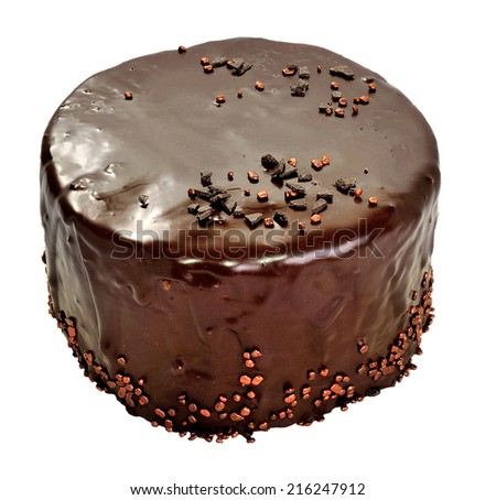 Chocolate cake on a white background - stock photo