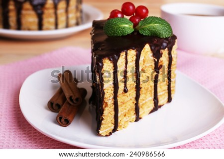 Chocolate cake on table - stock photo