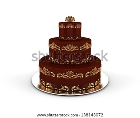 Chocolate cake on three floors with gold ornaments on it isolated on white background - stock photo