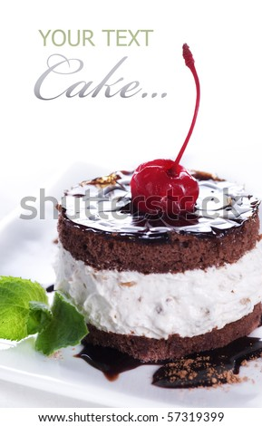 Chocolate Cake over white - stock photo