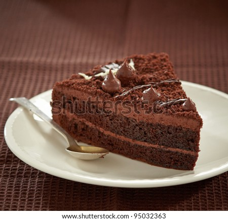 chocolate cake slice - stock photo