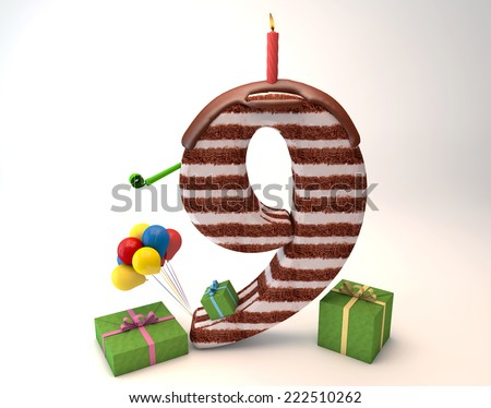Chocolate cake top by balloon and gift box lit candle for a birthday or anniversary celebration/Number Nine Shaped Chocolate Cake  - stock photo
