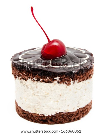 Chocolate cake with cherry on the top icing isolated on a white background - stock photo
