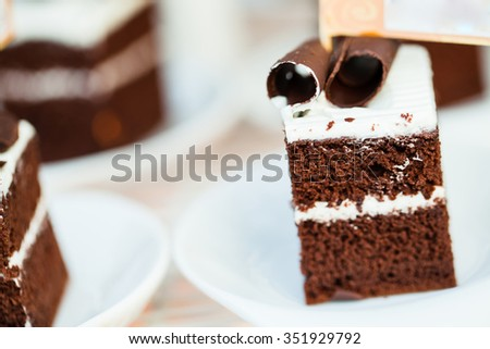 Chocolate cake with chocolate cream on plate - stock photo