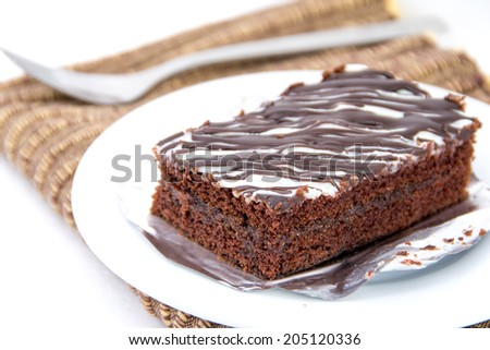 Chocolate cake with chocolate creame - stock photo