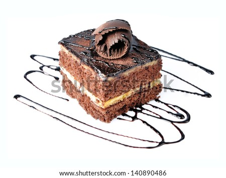 Chocolate cake with chocolate creame isolated on white - stock photo