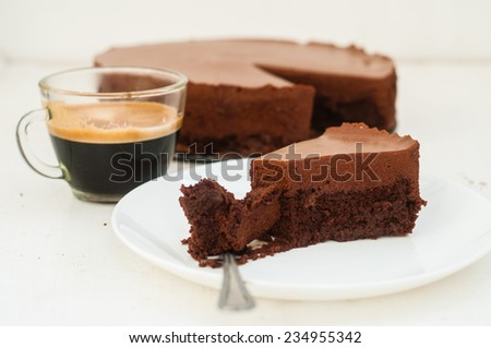 Chocolate cake with chocolate mousse, selective focus - stock photo