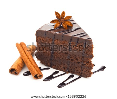 chocolate cake with cinnamon isolated on white background - stock photo