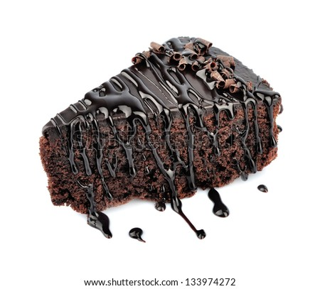 Chocolate cake with cream isolated on white - stock photo