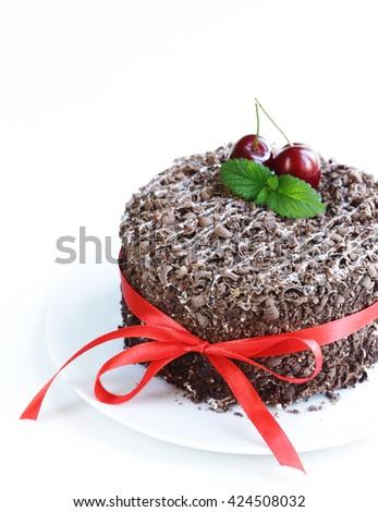 chocolate cake with fresh cherries (Black Forest, Schwarzwald) - stock photo
