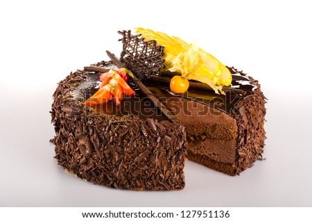 Chocolate cake with fresh strawberry dessert sweet tart - stock photo