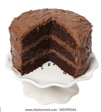 Chocolate cake with piece take out, on white background - stock photo