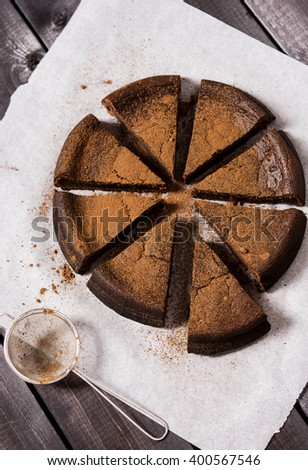 Chocolate cake with ricotta  - stock photo