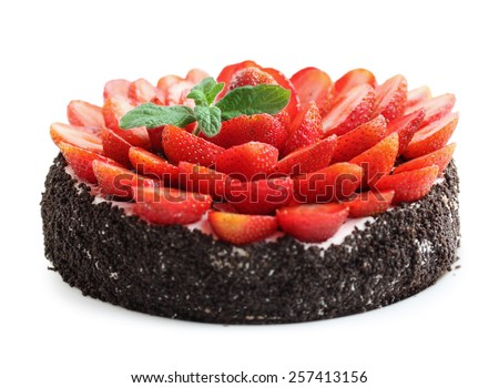 chocolate cake with strawberries and mint, isolated - stock photo