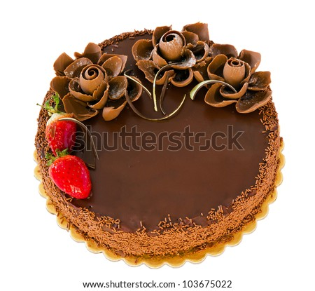 Chocolate cake with strawberries isolated - stock photo