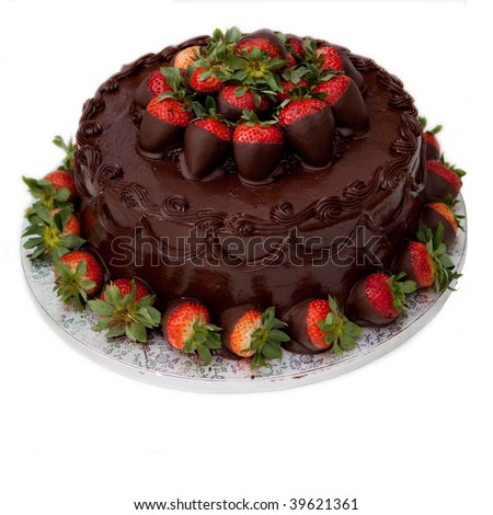 chocolate cake with strawberries, isolated on white - stock photo