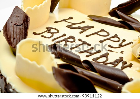Chocolate cake with words happy birthday on it - stock photo