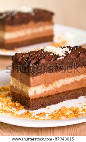 Chocolate cakes with coconut flakes - stock photo