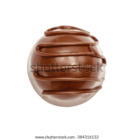Chocolate candie from collection top view. Beautifully issued isolated on white background