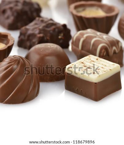 Chocolate Candies Assortment ,Close Up - stock photo