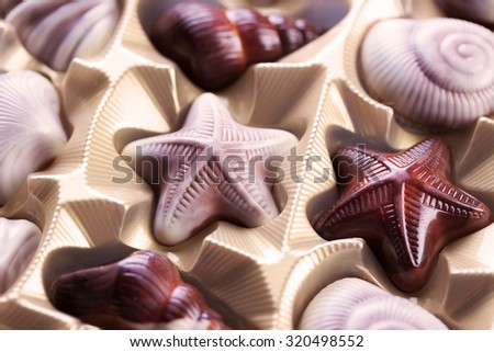 Chocolate candies in a gift box - stock photo