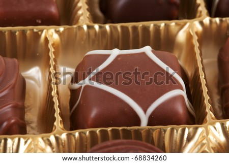 chocolate candies isolated on white background - stock photo