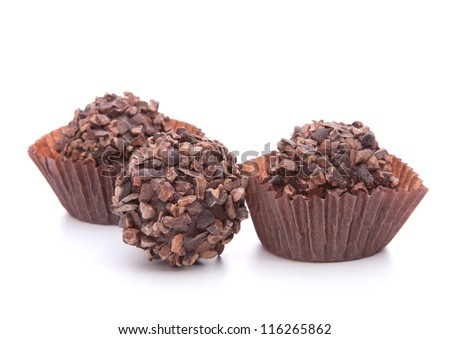 Chocolate candies isolated on white background cutout