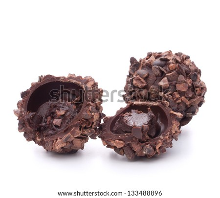 Chocolate candies isolated on white background cutout - stock photo