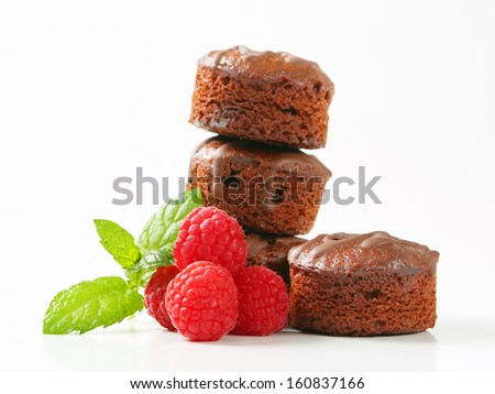 Chocolate candies with raspberries