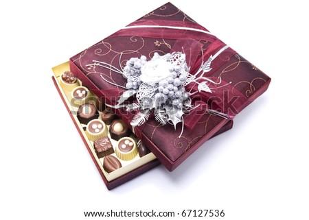 Chocolate Candy Box isolated white background - stock photo