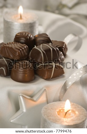 chocolate candy decorated for christmas close up