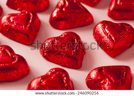 Chocolate Candy Heart Sweets for Valentine's Day - stock photo