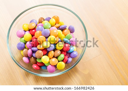 Chocolate candy in bowl - stock photo